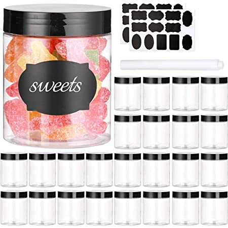 8 OZ Plastic Jars with Lids, (Dabacc) 24 Pack Clear Plastic Slime Containers for Kitchen and Household Food Storage of Dry Goods, Creams and More, BPA Free