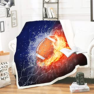 Rugby American Football Bed Blanket Ice Brown Ball Flames Pattern Bed Blanket Sports Themed Bedding Dark Blue Orange Blanket Soft Fuzzy Plush Sherpa Blanket 60 by 80 inch