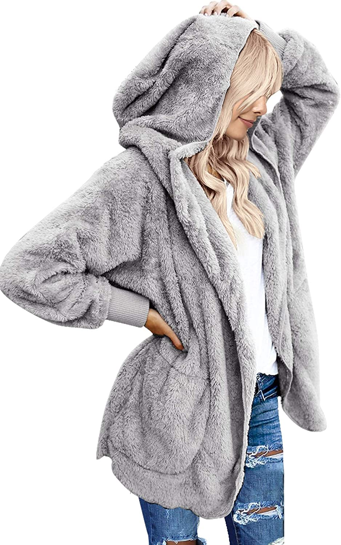 luvamia Women Fuzzy Fleece Open Front Pockets Hooded Cardigan Jacket Coat Outwear