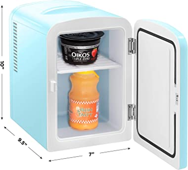 Chefman Mini Portable Blue Personal Fridge Cools Or Heats & Provides Compact Storage For Skincare, Snacks, Or 6 12oz Cans