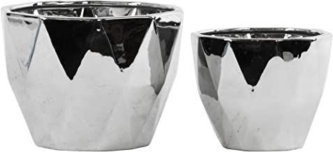 Urban Trends Collection UTC12590 Ceramic Tapered Decagonal Pot Set of Two Polished Chrome Finish Silver