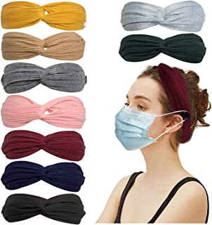 9 Pack Headbands with Buttons for Face Mask Elastic Knotted Headbands for Women Non Slip Ear Protection Holder Spa Yoga Stretchy Turban Hair Band (Multicolor)