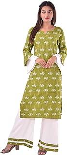 Uttam Creations Women's Rayon Green kurti with Palazzo Set