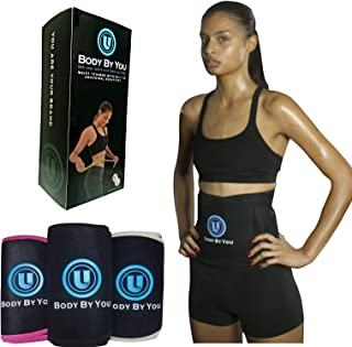 Body By You Waist Trimmer, Stomach Fat Burning, Weight Loss, Body Shaping, Free sample of All Natural Slimming Body Oil, 6 pack Toning; 3 colors, Black, White, Pink; 3 sizes sm, m, lg