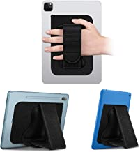 "Fintie Universal Tablet Hand Strap Holder - [پشتیبانی پایه های دوگانه] قلاب و قلاب های قابل انعطاف پلاستیکی دستگیره گیره با چسب پچ برای اپل، سامسونگ، آمازون آتش و همه 7-10 ""قرص، سیاه"