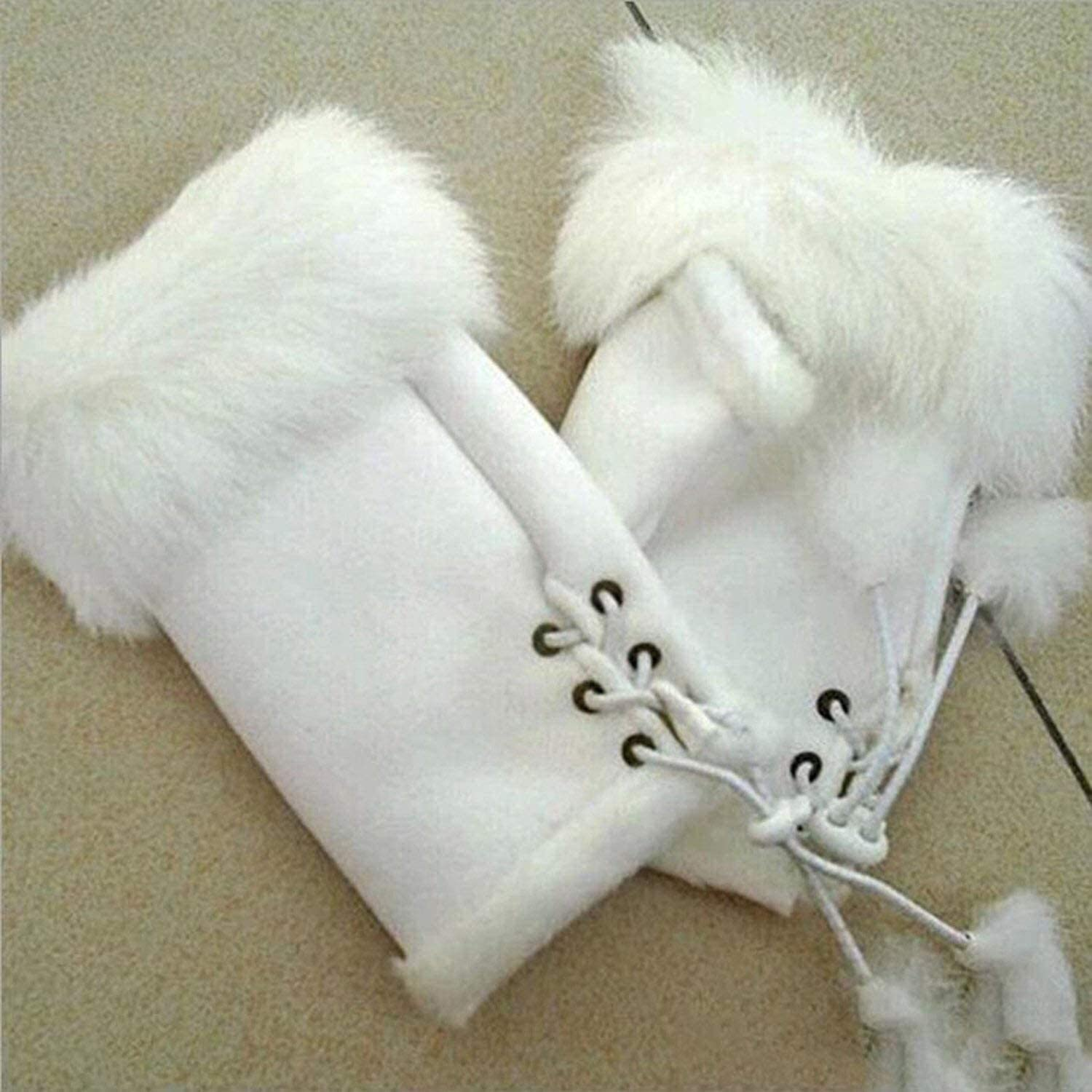 Warm Gloves Female Rabbit Hair Wrist Gloves Fingerless Computer Typing Mittens Winter Women Suede Leather Warm Thick Cashmere Gloves (Color : White, Size : One Size)