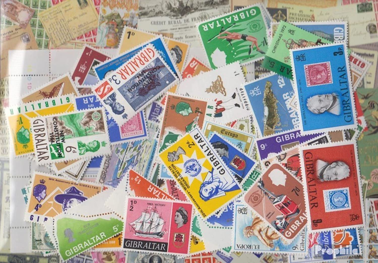 Gibraltar 100 different stamps (Stamps for collectors)