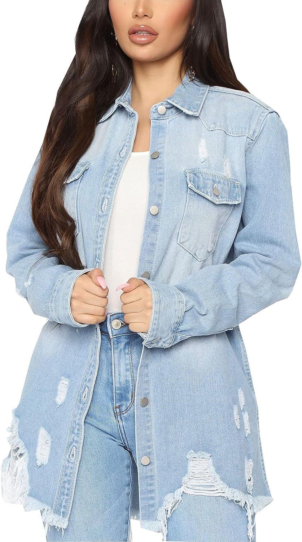 Women's Denim Financial sales sale Jacket Classic Distressed Tassels Boyfrie Fray Hem Cheap SALE Start