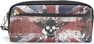 FENNEN Skull UK Flag Leather Student Kawaii Cute Pen Pencil Case Holder Women Cosmetic Bag Makeup Pouch Gift for Girls Boys