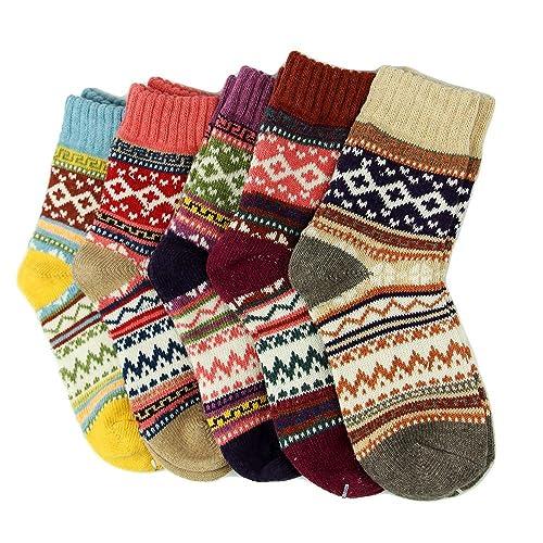 3ed99070639 5 Pairs Women Ladies Thick Winter Socks Warm Wool Nordic Novelty Sock UK