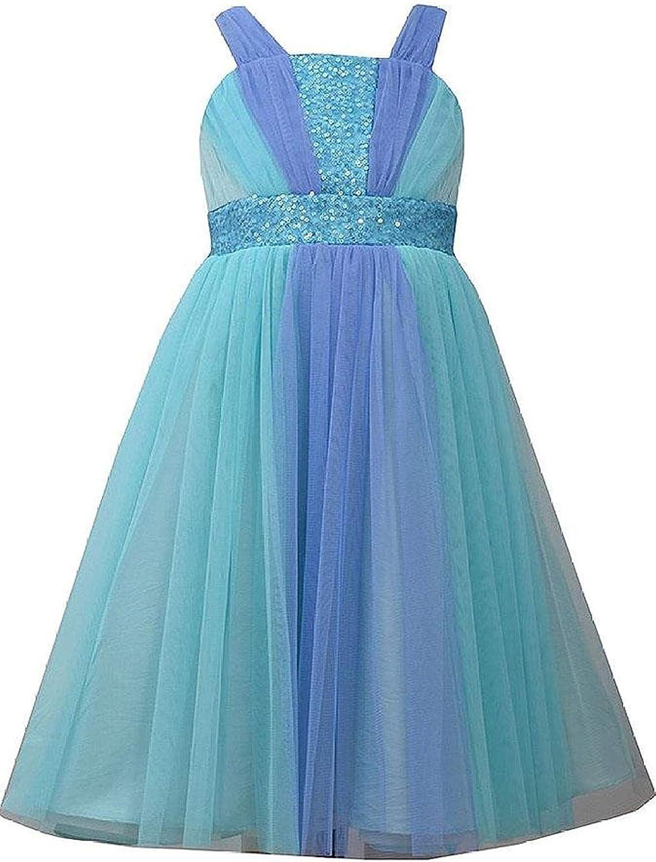 Little Girls 2T-6X Aqua-Blue Sequin Colorblock Panel Social Party Dress