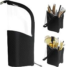Black Travel Makeup Brush Holder, ANEMEL Pencil Pen Case Organizer Bag Clear Plastic Cosmetic Zipper Pouch Portable Waterp...