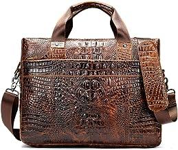 """YSDHE 14"""" Men's Business Laptop Pocket, Messenger Bag Large Capacity Briefcase Computer Shoulder Handbag, Brown"""