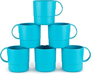 Amuse- Eco Friendly Sturdy Unbreakable & Stackable Mugs for Water, Coffee, Milk, Juice, Tea- Set of 6-11 oz (Turquoise)