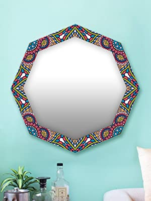 999Store Printed Colorful Classical Abstract Pattern Octagon Mirror (MDF_24X24 Inch_Multi)