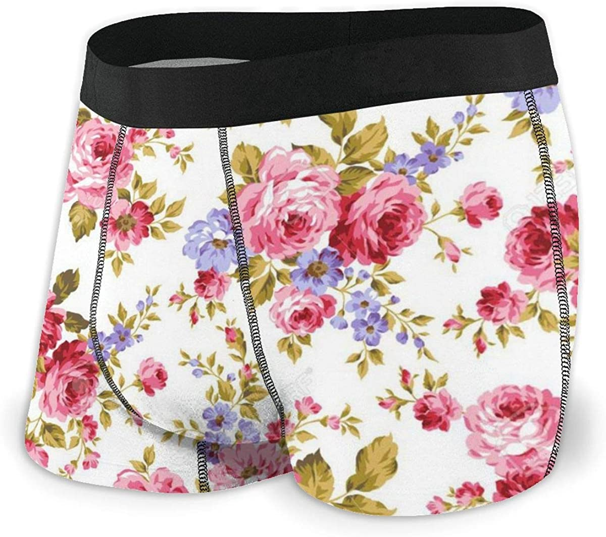 Mens Boxer Briefs Rose Floral Flowers Beautiful Cute Breathable Underwear