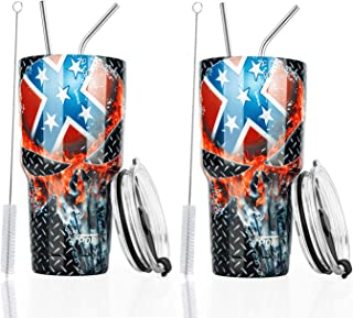 2PCS 30oz Stainless Steel Insulated Skull Tumbler Travel Mug with Straw Slider Lid, Cleaning Brush, Double Wall Vacuum