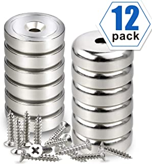 LOVIMAG Cup Magnets, Industrial Strength Round Base Magnets, 40 lbs Holding Force, Pack of 12