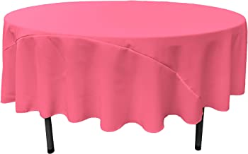 LA Linen 90-Inch Round Polyester Poplin Tablecloth, Hot Pink