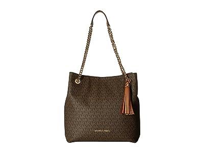 MICHAEL Michael Kors Jet Set Chain Signature Large Shoulder Tote (Brown) Cross Body Handbags