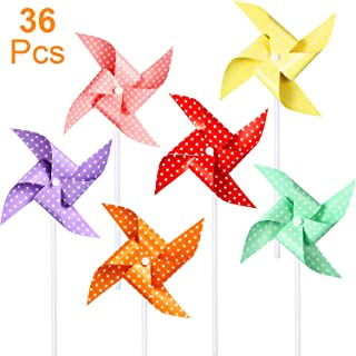 Hestya 36 Pieces Bright Polka Dots Pinwheels,Party Pinwheels DIY Lawn Windmill Set for Teenagers Toy Garden Party Lawn Decor