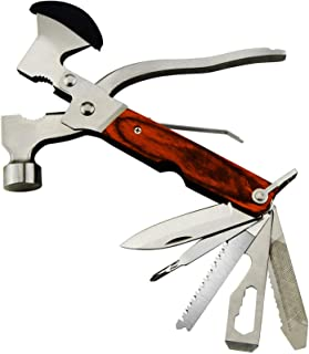 Rose Kuli 7'' Portable Multipurpose Multitool Multifunctional Pocket Mini Tools with Axe Hammer Plier Set Wooden Handle fo...
