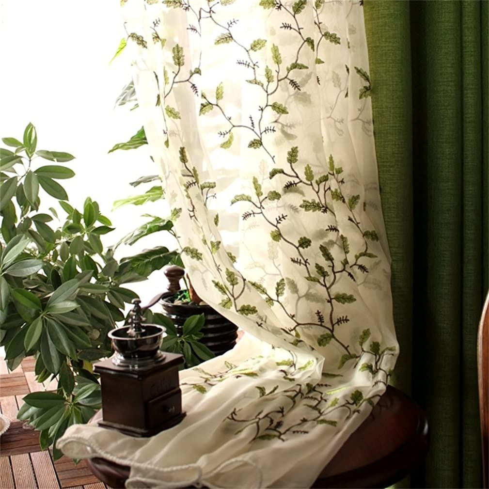 Abreeze Plants Leaves Green Curtains Fabric Embroidered Semi Sheer Curtains Botanical Floral Design Voile Tulle Window Curtains Two Panels 54 x 63 inch Panel, Rod Pocket Style