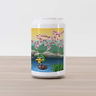 Ambesonne Cartoon Cola Can Shape Piggy Bank, Vector Ducks Frogs in a Lake Pond Trees Image Kids Nursery Design Artwork, Ceramic Cola Shaped Coin Box Money Bank for Cash Saving, Multicolor