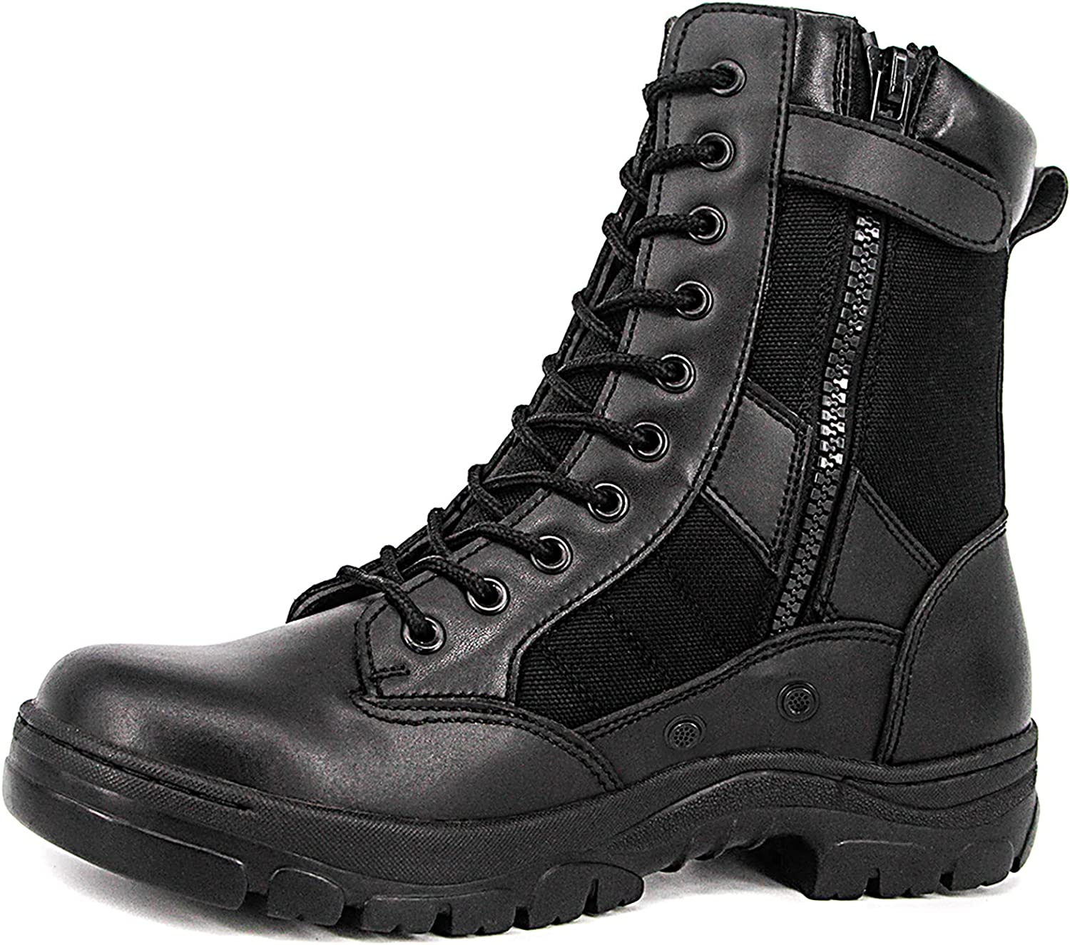 WIDEWAY Men's 8'' Inch Choice Military Boots Full Leathe Grain Tactical Easy-to-use