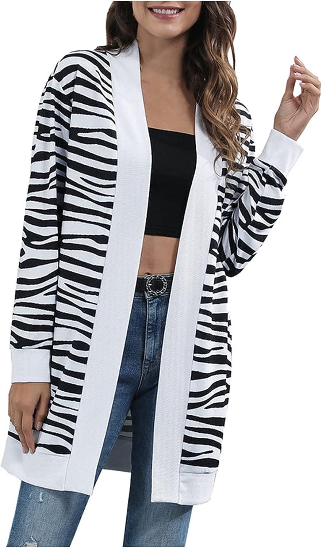 Women Stripe Knit Cardigan Long Open Front Sweaters Casual Loose Lightweight Jacket Coat Outwear