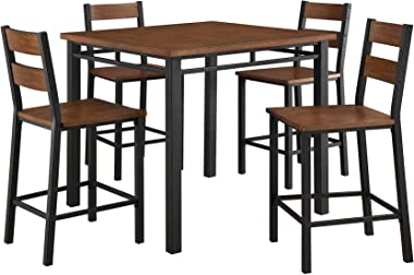Counter Height Dining Set Table And 4 Chairs, Durable Metal Construction, Square Shape, Footrest, Ideal For Family Gathering
