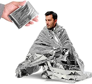 Emergency Silver Mylar Thermal Compact Waterproof Blankets for First Aid Kits, Natural Disasters Equipment, Retain Body He...