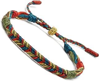 BENAVA Braccialetto tibetano portafortuna in tessuto, colorato, stile boho, per uomo e donna, bracciale dell'amicizia, bra...