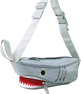 Premium Nylon Shark Fanny Pack Bag with Gill Side Pockets, 16 Inches
