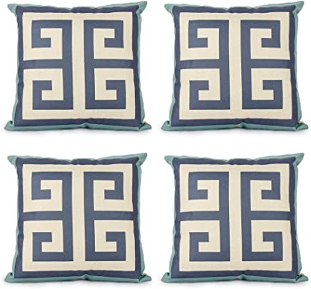 Top Finel Cotton Linen Square Decorative Throw Pillows Cushion Covers Pillowcases for Sofa Bed 18 x 18 inch Set of 4-Maze
