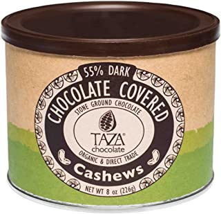Taza Chocolate Organic Chocolate Covered Cashews, 55% Dark Chocolate, 8 Ounce (Pack of 1), Vegan