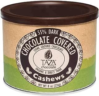 Taza Chocolate Organic Chocolate Covered Cashews, 55% Dark Chocolate, 8 Ounce (Pack of 1), Vegan