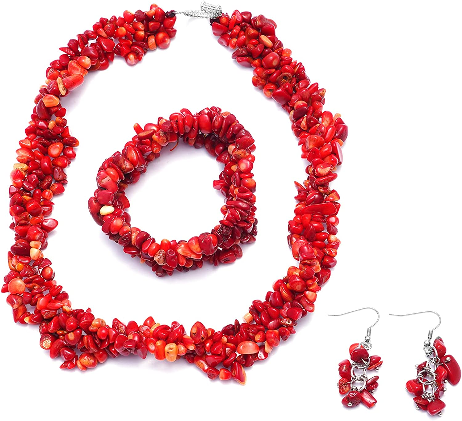 Shop LC Coral Bracelet Earrings Necklace Stainless Steel Fashion Prom Jewelry Sets for Women Size 6.5