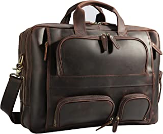 "Polare Men's 17"" Full Grain Leather Briefcase Business Messenger Bag Tote"