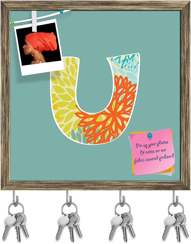 Artzfolio Floral Letter U Key Holder Hooks   Notice Pin Board   Antique golden Frame 20 X 20Inch