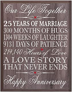 LifeSong Milestones 25th Wedding Anniversary Wall Plaque Gifts for Couple, 25th for Her,25th Wedding Silver Ideas for Him 12