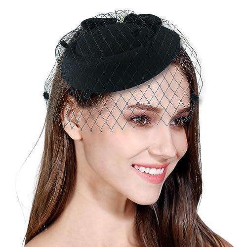 Fascinator Mesh Veil Fascinators for Women Pillbox Hat for Wedding Party  Derby Royal Banquet 2f34d76ae66d