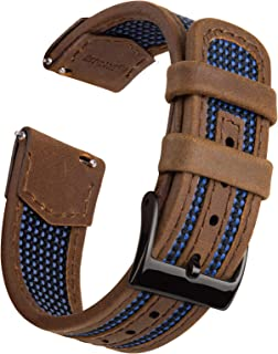 Ritche 18mm Watch Band Quick Release Leather Watch Bands Leather with Nylon Watch Strap for Men Women
