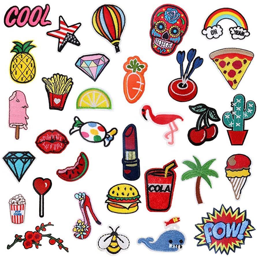 Iron On Patches 32 Pcs – Embroidered Patches Appliqué Motif Applique Kit Assorted Size Decoration Sew On Patches for Jackets, Backpacks, Jeans, Clothes