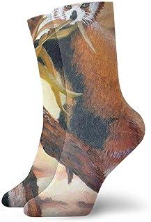 tyui7, Los zorros rojos comen calcetines de compresión de bambú antideslizantes calcetines deportivos acogedores de 30 cm para hombres, mujeres y niños