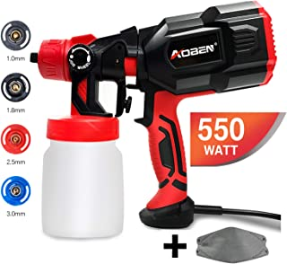 AOBEN Paint Sprayer, 550 Watt High Power HVLP Spray Gun, with 3 Spray Patterns, 4 Nozzle Sizes, Adjustable Valve Knob, Easy-to-Use Electric Paint Gun for Home