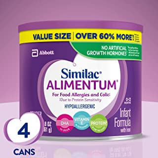 Similac Alimentum Hypoallergenic Infant Formula for Food Allergies and Colic, Baby Formula, Value Size Powder, 4 Count