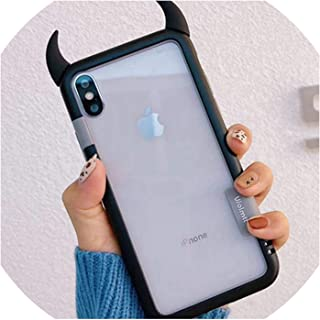 Silicone 3D Horn Devil Phone Case for iPhone 6 6S 7 8 Plus XS XR Cartoon Couple Transparent TPU Back Cover Black Frame,Black,for iPhone XR