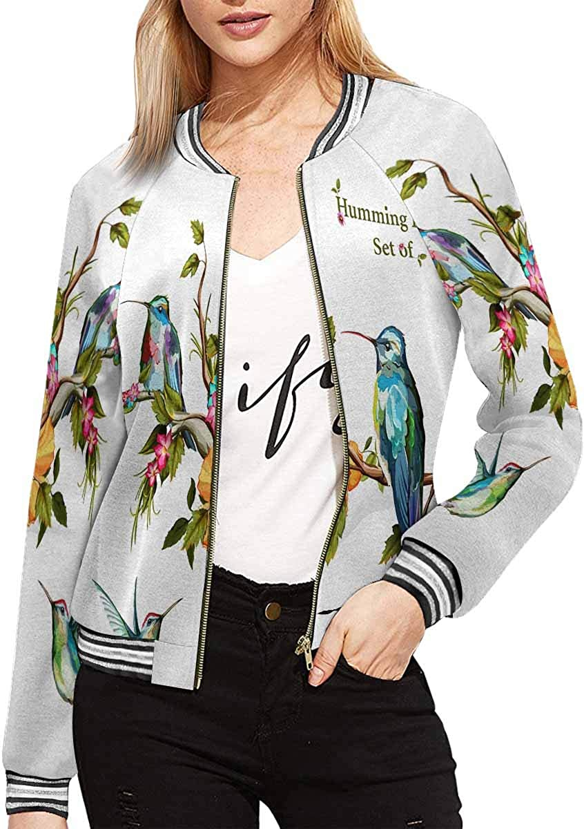 InterestPrint Women's Holstein Cow in Field, Licking Its Nose Long Sleeves Zippered Pockets Jacket