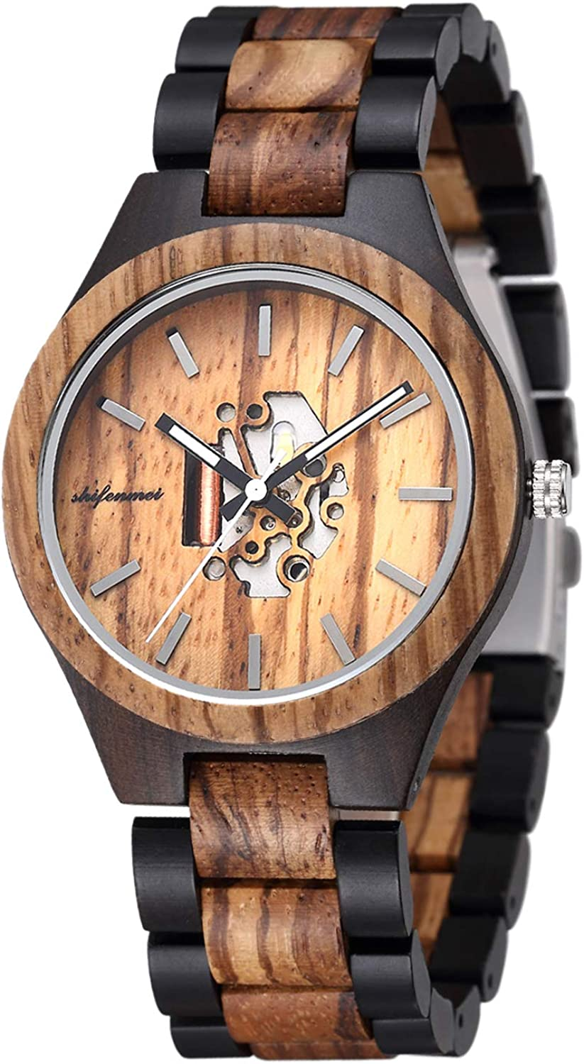 Wooden Mens Watches shifenmei Sale Handmade Natural Deluxe Creat Wood Watch